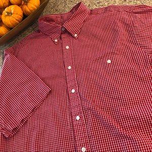 Lands' End Red & White Men's Short Sleeve Shirt L
